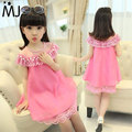 2016 New Summer Costume Girls Princess Dress Children's Evening Clothing Kids Chiffon Lace Dresses Baby Girl Party Pearl Dress