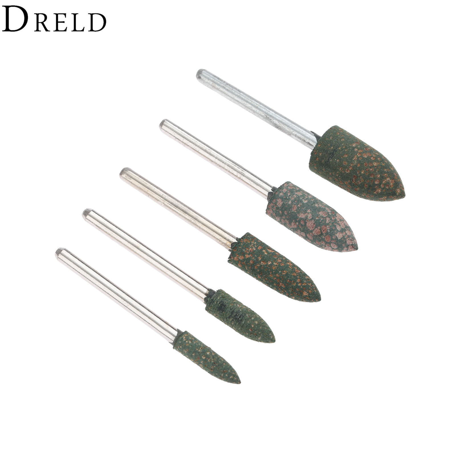 DRELD 5Pcs 3mm Shank Rubber Grinding Head Buffing Polishing Grinding Mounted Point For Metalworking Grinder Dremel  Rotary Tool