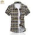Miuk super tamanho grande de algodão xadrez camisa masculina 6xl 5xl slim fit marca camisa verão havaiano clothing chemise homme 2017 nova