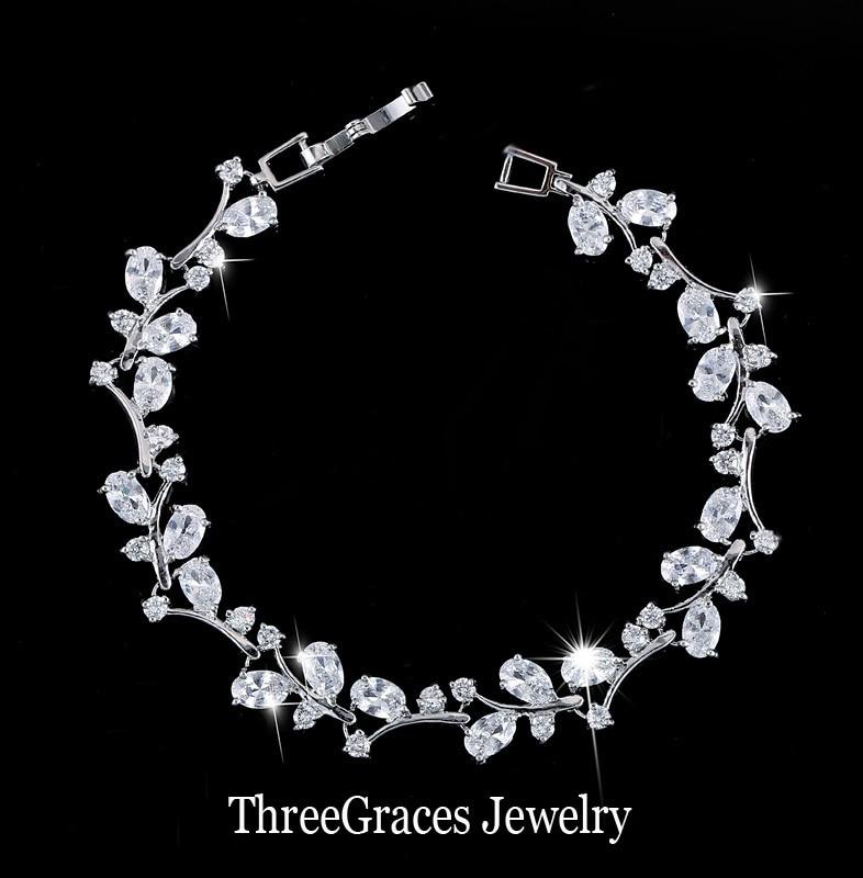 Prix pour ThreeGraces Romantique CZ Bijoux Feuille Et Fleur Cubique De Zircon De Mariée Bracelets Cadeau Pour Demoiselle D'honneur BR031