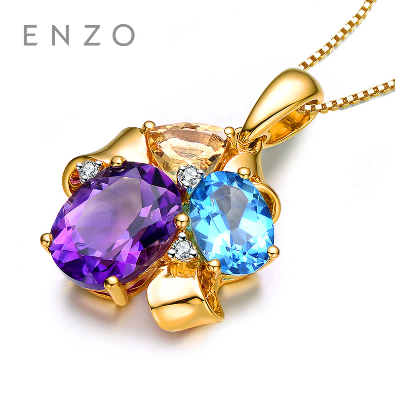 ENZO Rainbow 18K Gold Pendant Natural Colourful Crystal Pendant With Elegant Design Wonderful Jewelry