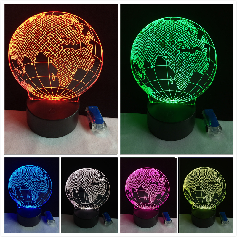 3D Visual Europe Map Globe Nightlight 7 Color Gradient Desk Table Lamp Bedside Lamp Child Kids Birthday Xmas Gifts Dropshipping