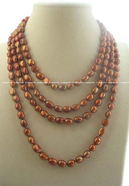 100% Selling full long freshwater pearl bronze baroque 8-10mm necklace nature wholesale bead 75in