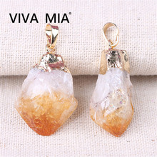 цена на Chakra Pendulum Amethysts Pendant Citrines Necklace Natural Stone Pendants Purple Yellow Healing Crystal Free Shipping