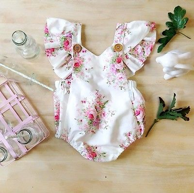 Baby Girls Floral Romper Newborn Infant Clothing Girls Summer Spring Cotton Ruffle Sleeve Romper Toddler Jumpsuit 0-2Years