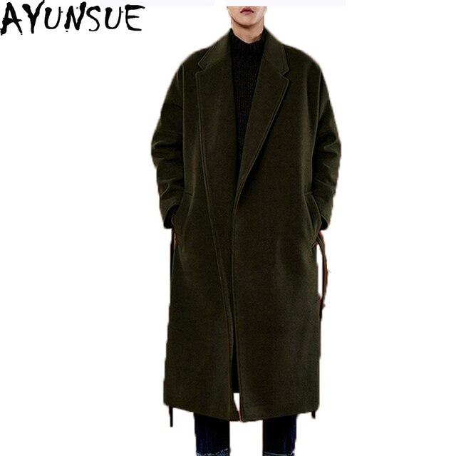 e6dafb8a581b2 AYUNSUE Super Caldo di Inverno Di Lana Cappotto Uomo giacche Nuovo 2019 X- Lungo Allentato