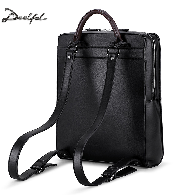 DEELFEL PU Leather Backpacks for Men Real Cowhide Small Man ...