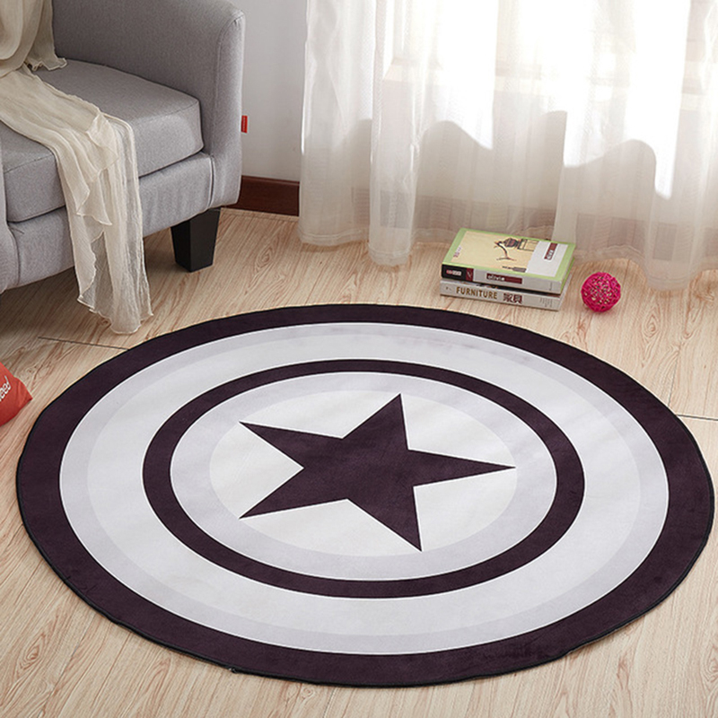 EHOMEBUY New Arrival Carpet Star Circle Round Carpet Rug Home Hotel Floor Decor Bedroom Living Room Foot Pads Anti Slip Mats