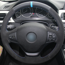 Hand sewing custom Black Leather Suede Car Steering Wheel Cover for BMW F30 316i 320i 328i