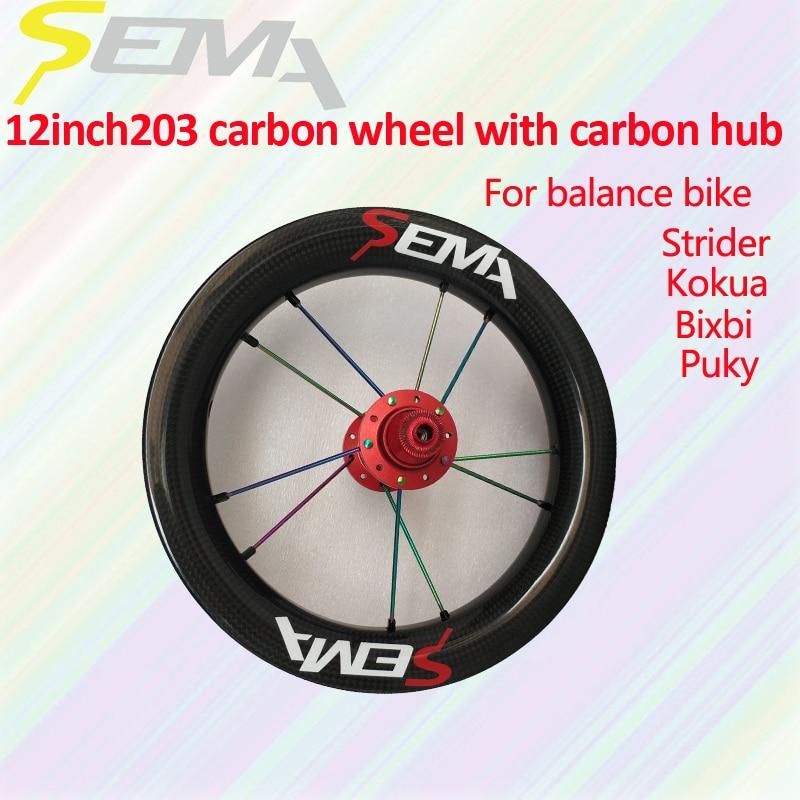 Popular Wheels SEMA 12 inch 203 with carbon hub ceramic bearing  carbon wheelset for Kids' balance Bicycle custom 84/88/90/95mm