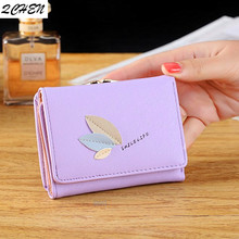 Women wallets Leather Small Brand Mini Women Leaves Wallets Purses Female Short Coin Zipper Purse floral Credit Card Holder 423