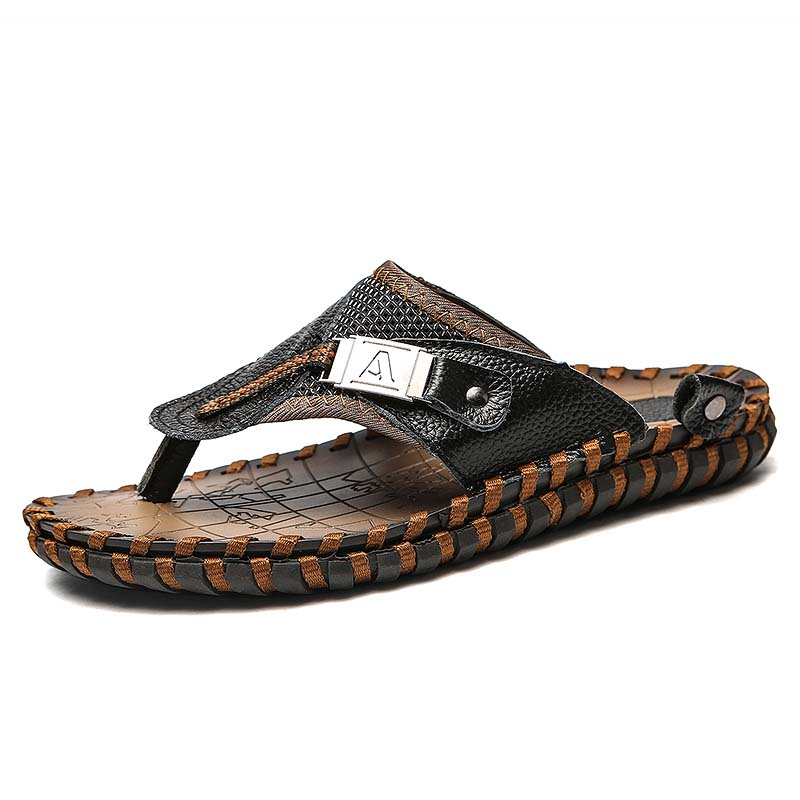 New Brand Summer Men 39 s Slippers Sandals Casual Shoes Moccasins Genuine Leather Rome Beach Sandals Men Metal Flip Flops Slippers in Slippers from Shoes