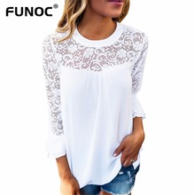 Funoc Hollow Out Lace Blouse Shirt Womens Casual Tops Butterfly Sleeve Patchwork Ladies Chiffon Blouse Loose Tops Femme Blusas