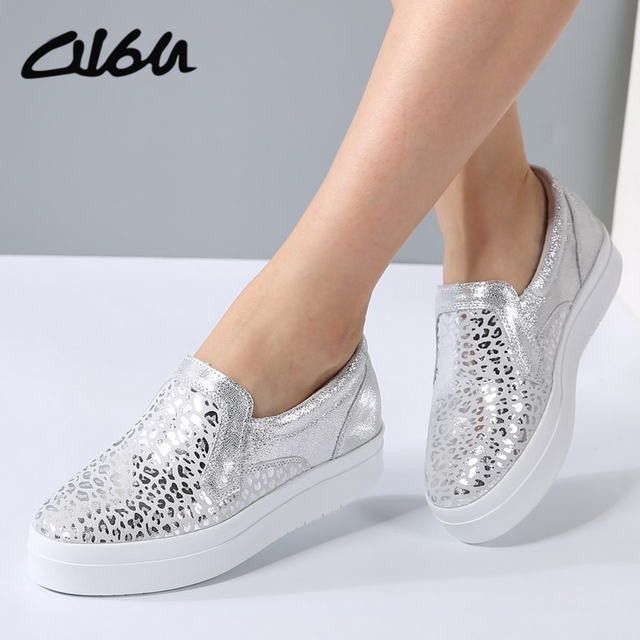 O16U Women Sneakers Platform Flats Loafers Shoes Bling Leopard Leather Slip  on Casual White Sole Ladies Shoes silvery Black 911f14e66c3c