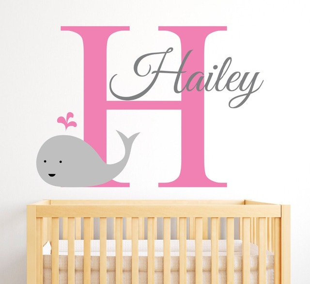 Name Wall Decal Whale Cute Pattern With Custom Personalized Baby Name Nursery Bedroom Decor Vinyl Wall  sc 1 st  AliExpress.com & Name Wall Decal Whale Cute Pattern With Custom Personalized Baby ...