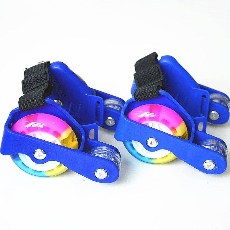 1 par niños deportes 4 Ruedas polea iluminado LED parpadeante Ruedas talón skate rodillos patines zapato Rodillos intermitentes Zapatillas de skateboarding