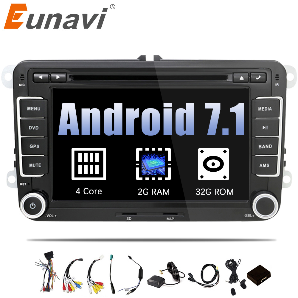 Eunavi 2 Din Android 7.1 8.1 Voiture Audio De Voiture Lecteur DVD GPS Radio Pour VW GOLF 6 Polo Bora JETTA b6 PASSAT Tiguan SKODA OCTAVIA OBD