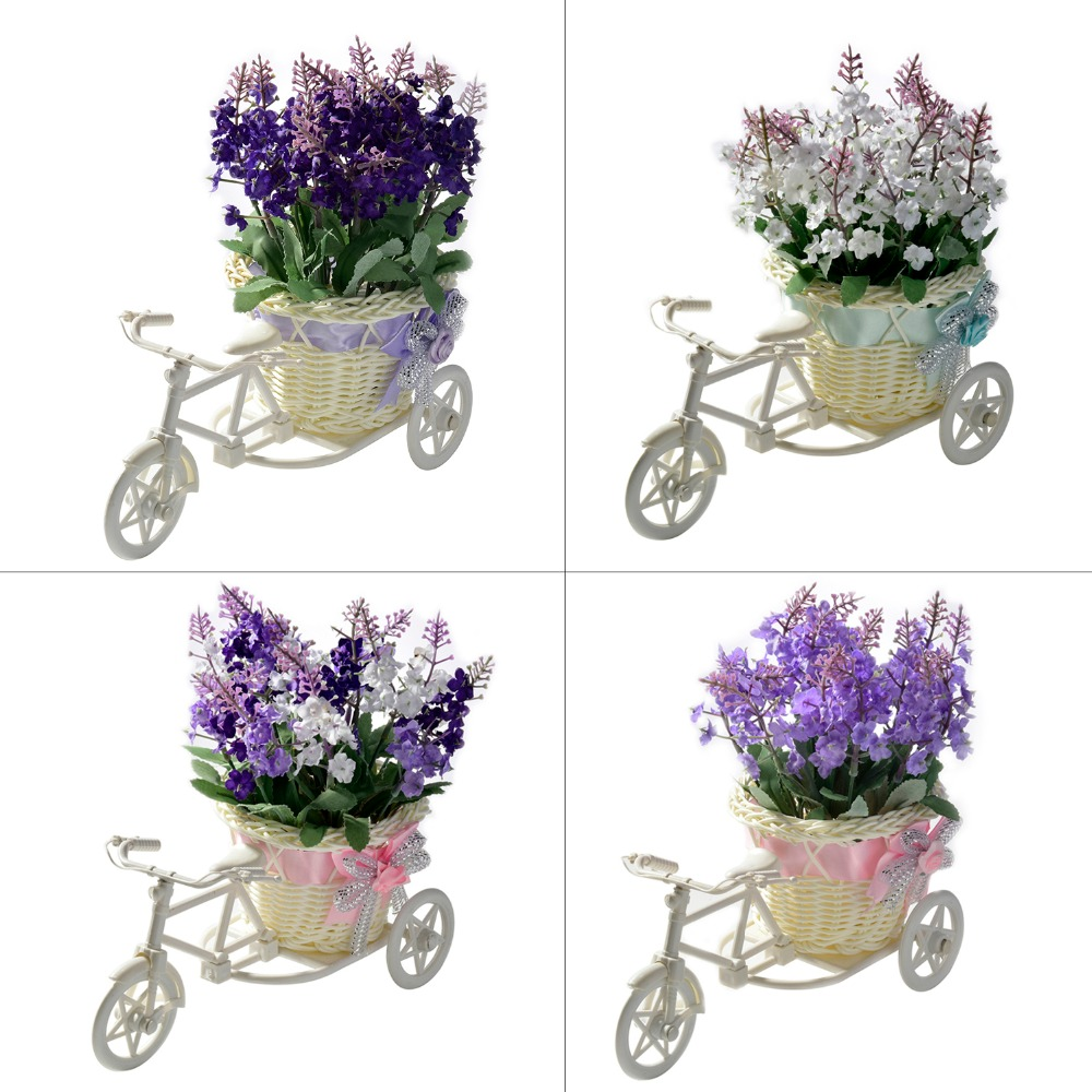 artificial rattan vase tricycle + flowers artificial flowers bouquet set Lavender Fake flowers wedding Birthday Gift Decoration
