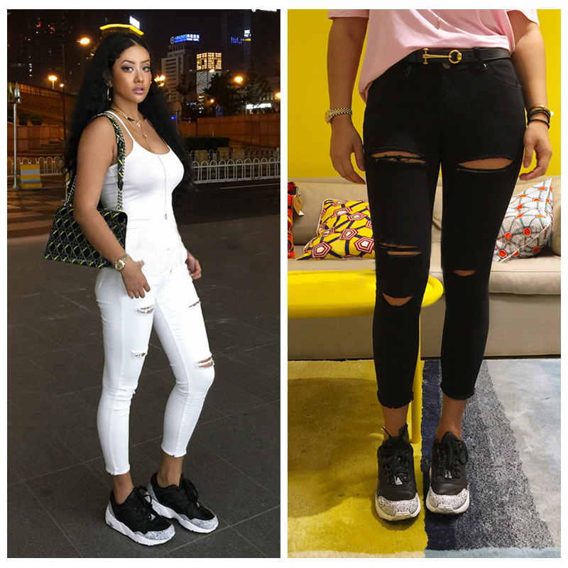 New Fashion Ankle-Length Pants Solid Color Femme Pants Women Sweatpants Cargo Jogger Pants Ripped Jeans With Holes