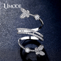 UMODE Double Butterflies Shaped 0.25ct Simulated Diamond Unique Rings Rhodium Plated Jewelry for Women Anillos Mujer UR0306