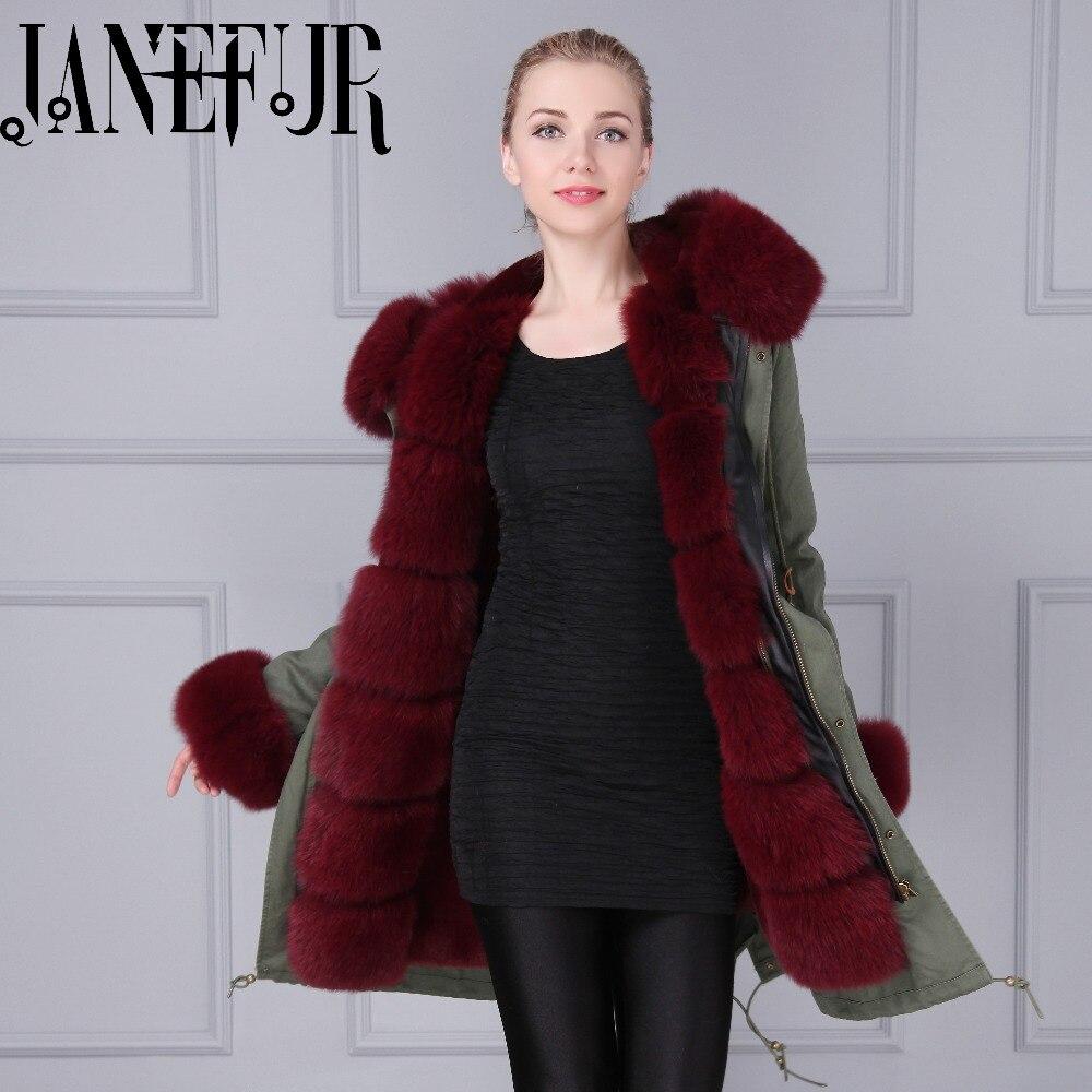 Real Fox Fur Collar Parka Women Long Khaki Green  Coat Burgundy Faux Fur Lined With Hood