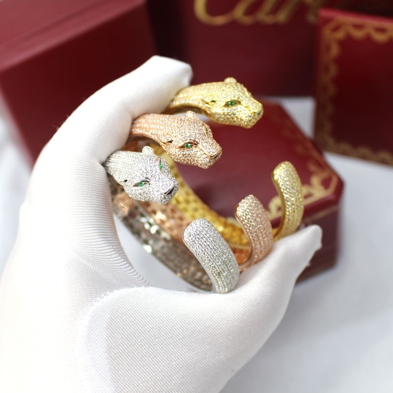 Luxus übertreibung accessorised mit leopard armband micro gold rose gold silber stretch öffnen cheetah armband für frauen-in Armreifen aus Schmuck und Accessoires bei  Gruppe 2
