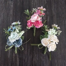 Silk Roses White rosy blue Wedding Corsages and Wrist flower Groom Flower  Marriage Prom Brooch Pins 1 pc wedding