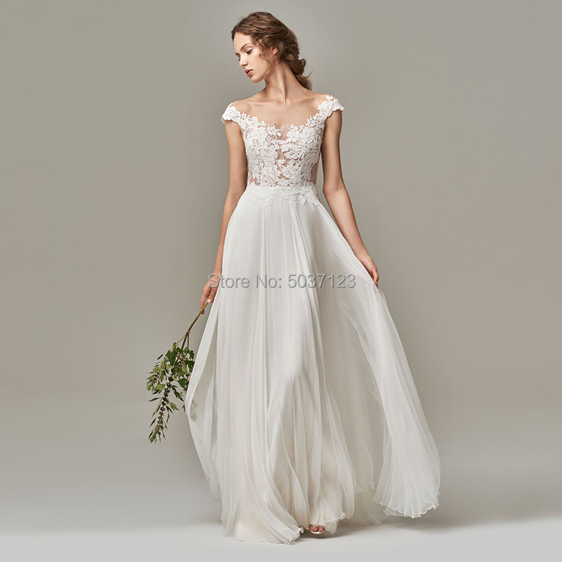 Beach A Line Wedding Dresses Appliques Lace Cap Sleeves Sleeveless Wedding Bridal Gowns Chiffon Vestido De Novia Custom Made