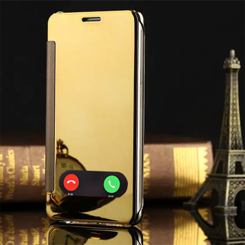 Luxury Flip Mirror Case for iPhone 5 / 5S / 6 / 6S / 6S Plus Hard Plastic Back Cover Free Tempered Glass Screen Protector