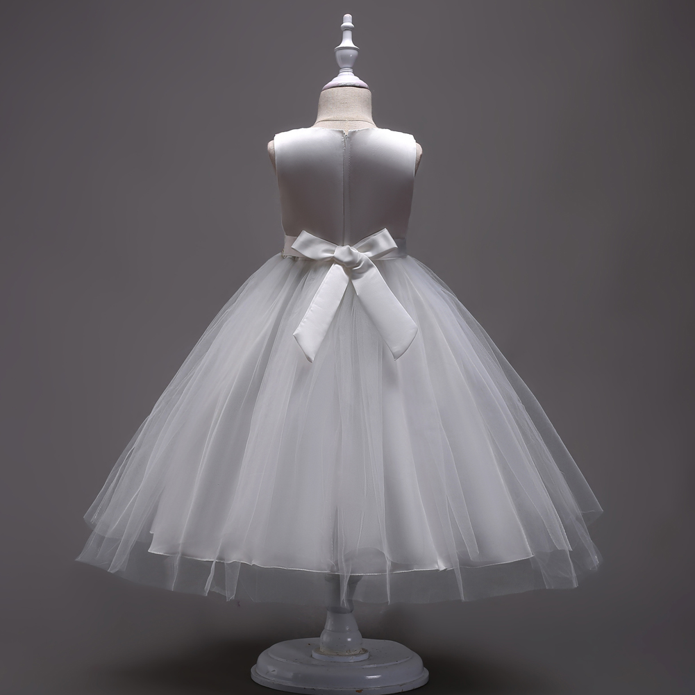 Childrens Clothes Designer Kids Prom Dresses Long Teen Girls Evening Ball 4 To 11 12 13 14 15 Years Kids-white-wedding-gown 1