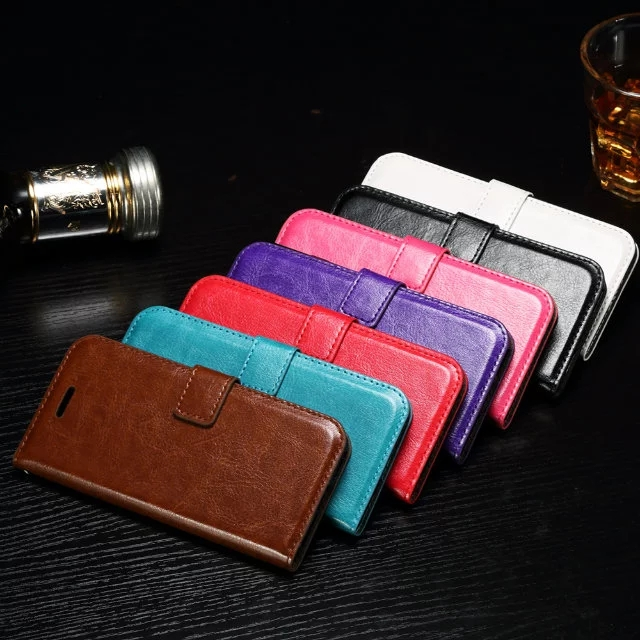 High Quality Leather Wallet Flip Pouch Case Luxury Crazy Horse Stand Photo For iphone 7 iphone7 Leather Phone Case Skin Cover