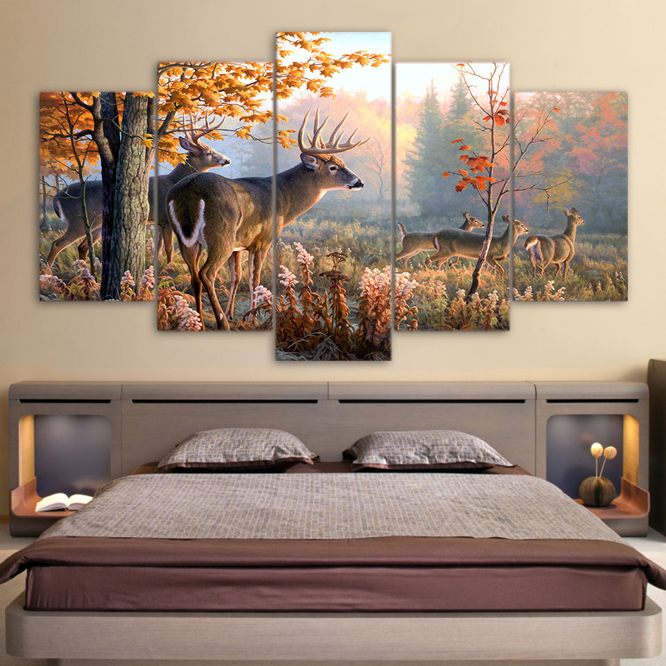 Moderne Wand HD Gedruckt Leinwand Malerei Kunst Modulare Plakatrahmen 5 Panel Wald Deer Landschaft Home Decor Wohnzimmer Bilder