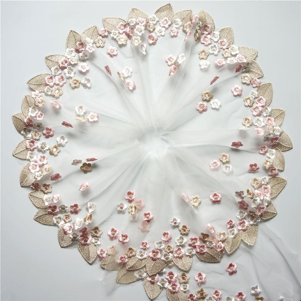 Кружевная отделка, 2 ярда, 20 см, вышитая Роза, винтажные цветы, листья, сетчатая отделка, нашивка для шитья, свадебная аппликация, платье невес...
