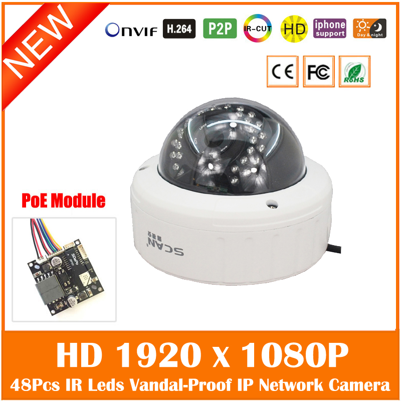 Hd 1080p Indoor Poe Dome Ip Camera Vandal-proof Onvif Infrared Cctv Surveillance Security Cmos Night Vision Webcam Freeshipping hd 720p ip camera onvif black indoor dome webcam cctv infrared night vision security network smart home 1mp video surveillance