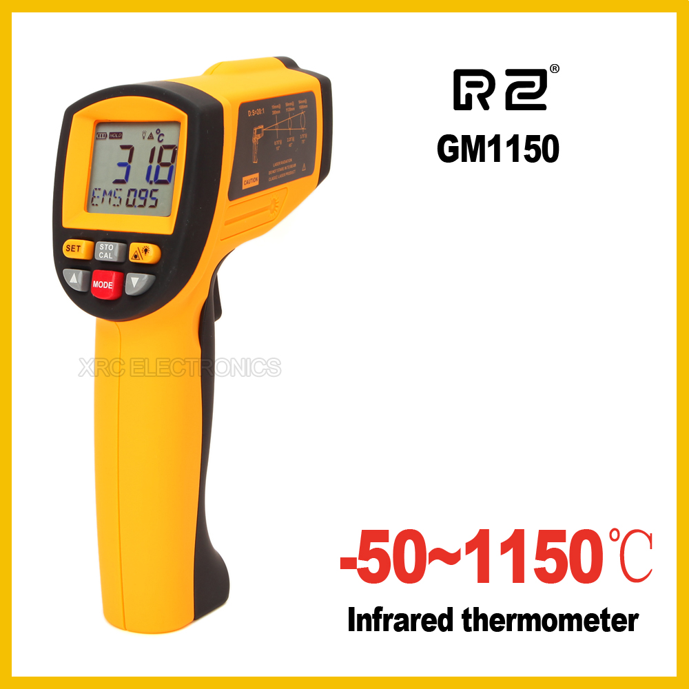 GM1150 Senza Contatto 12:1 display LCD Digitale Ad Infrarossi IR Temperatura Gun Termometro-50 ~ 1150C (-58 ~ 2102F) 0.1 ~ 1.00 regolabile
