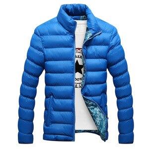 Image 5 - Мужская зимняя куртка с хлопковой подкладкой, толстая приталенная стеганая парка с длинными рукавами, теплая верхняя одежда, 2020