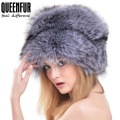 QUEENFUR Winter Women Fur Cap Real Fox Fur Hats Headgear Russian Outdoor Girls Raccoon Fur Beanies Cap 2016 New Fashion Fur Hat