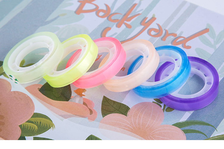 6 Rolls/set Candy Color Transparent Tape Multicolour Office Adhesive Tape 8mm12m Mini Tape Decorative Sticky Free Shipping