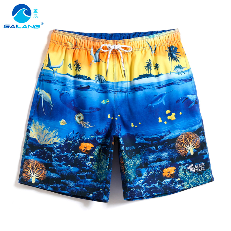 Bathing suit Men's   board     shorts   joggers hawaiian bermudas surfboard liner briefs swimwear printed beach   shorts   plavky mesh