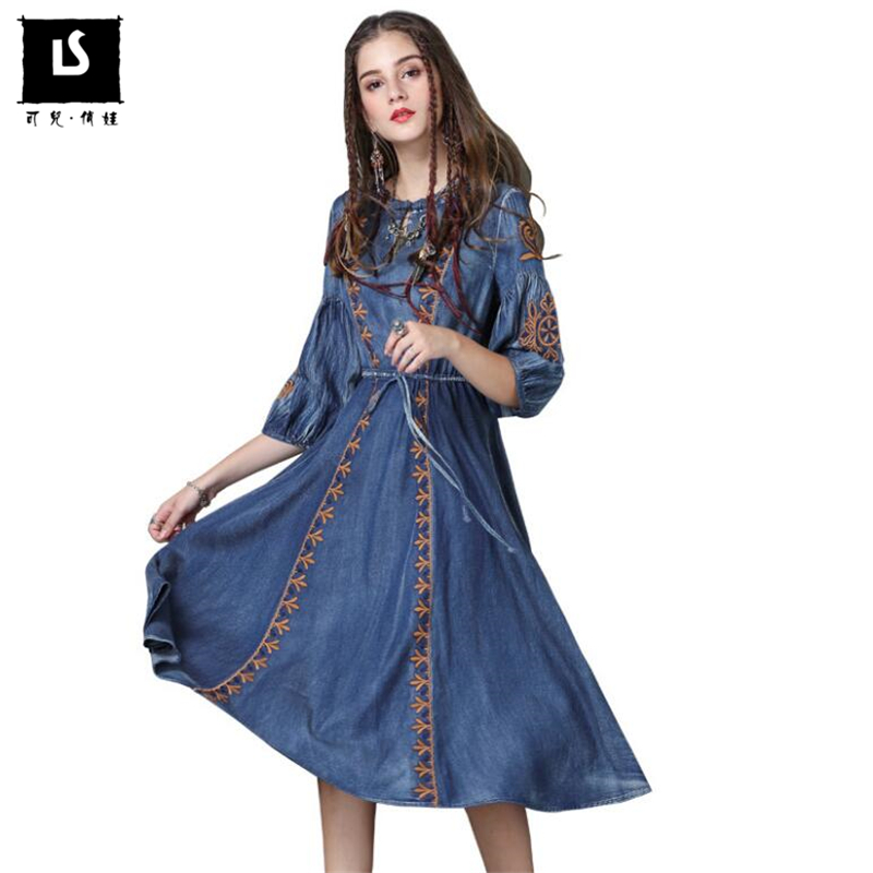 Women Dresses Autumn Vintage Casual Denim Embroidery Dress Ladies O Neck Half sleeve Cotton Vestidos High