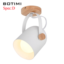 BOTIMI Modern Wooden LED Ceiling Lights White Metal Corridor Light Kitchen Wood Lamps Small Surface Mounted Lighting Fixtures