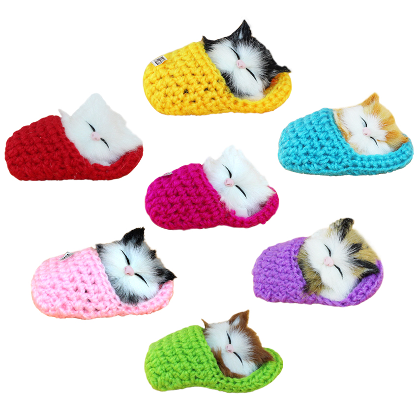 1pc Mini cute Simulation Sounding Shoe Kittens Cats Plush Toy Sleeping Cats Toy Kids Appease Doll Birthday Gift Doll