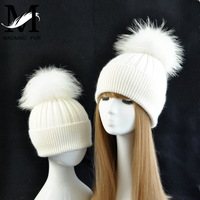Lovely Parent child Hats Baby Girls Boys Real Fur Ball Hats Women Mother Hat Winter Knit Fur Pom Pom Winter Knitted Hats