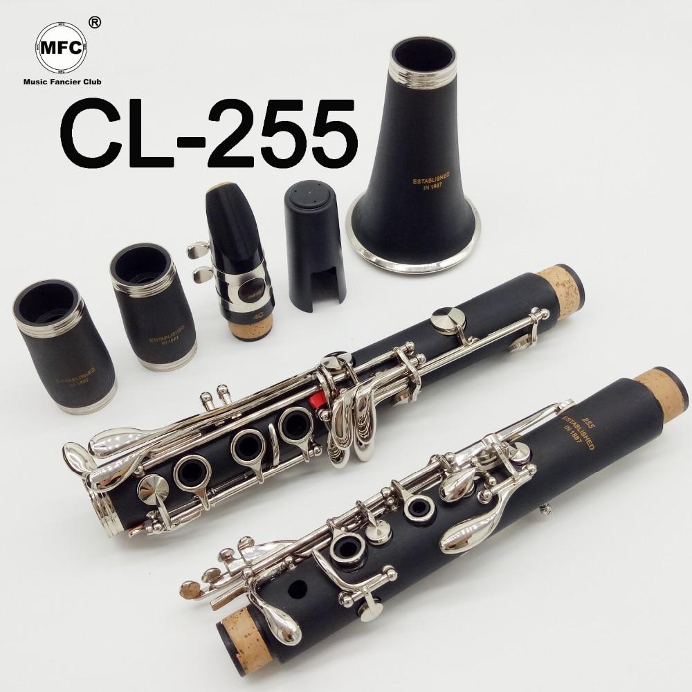 Musique Amateur Club Étudiant Clarinettes Bb CL-255 Mat ABS Résine Bakélite Clarinette Embouchure 4C Inclus Cas + Roseaux