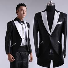 Men's clothing set costume Male tuxedo formal dress costumes men suits singer dancer compere performance show black white