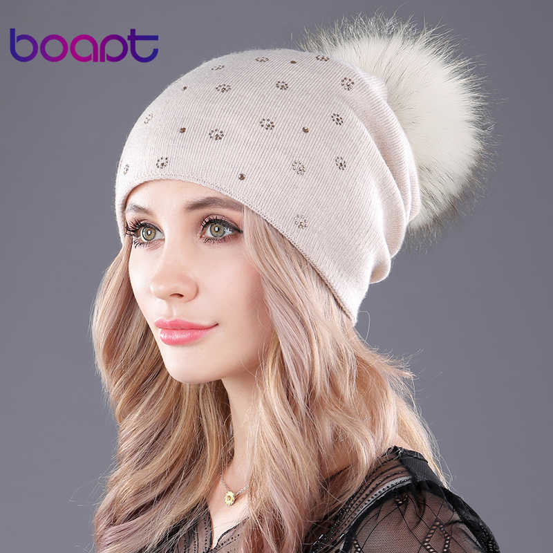 [Boapt] real natural raccoon fur pompom fofo cashmere tricô chapéus de inverno para as mulheres caps beanie double-deck skullies gorros