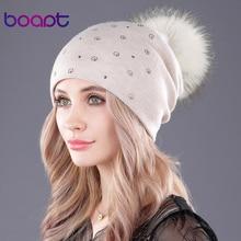 [Boapt] 자연 진짜 너구리 모피 솜털 pompon 캐시미어 겨울 모자 여성용 모자 비니 더블 데크 skullies beanies