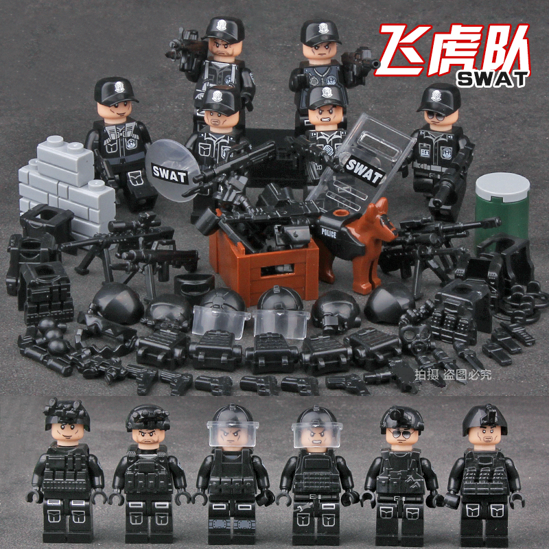 Building Blocks Kids Toys SWAT POLICE special forces military blocks villain toy 6-12 ages gift Compatible Legoingly Toys new arrival city swat policeman special forces model police officer tactical unit minifigures building blocks bricks toy for kid
