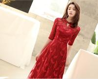 Red Long dress For Wedding Party For Woman O Neck Half Sleeve Lace Up Maxi Dress Robe Longue