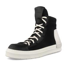 купить Men's Canvas Hip-Hop Shoes British retro all-match cowhide chelsea boots mens autumn winter military boots desert boots men дешево